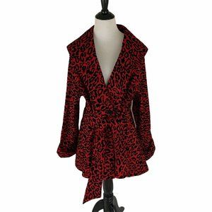 Mycra Pac Trench Coat Leopard Print Rockabilly red